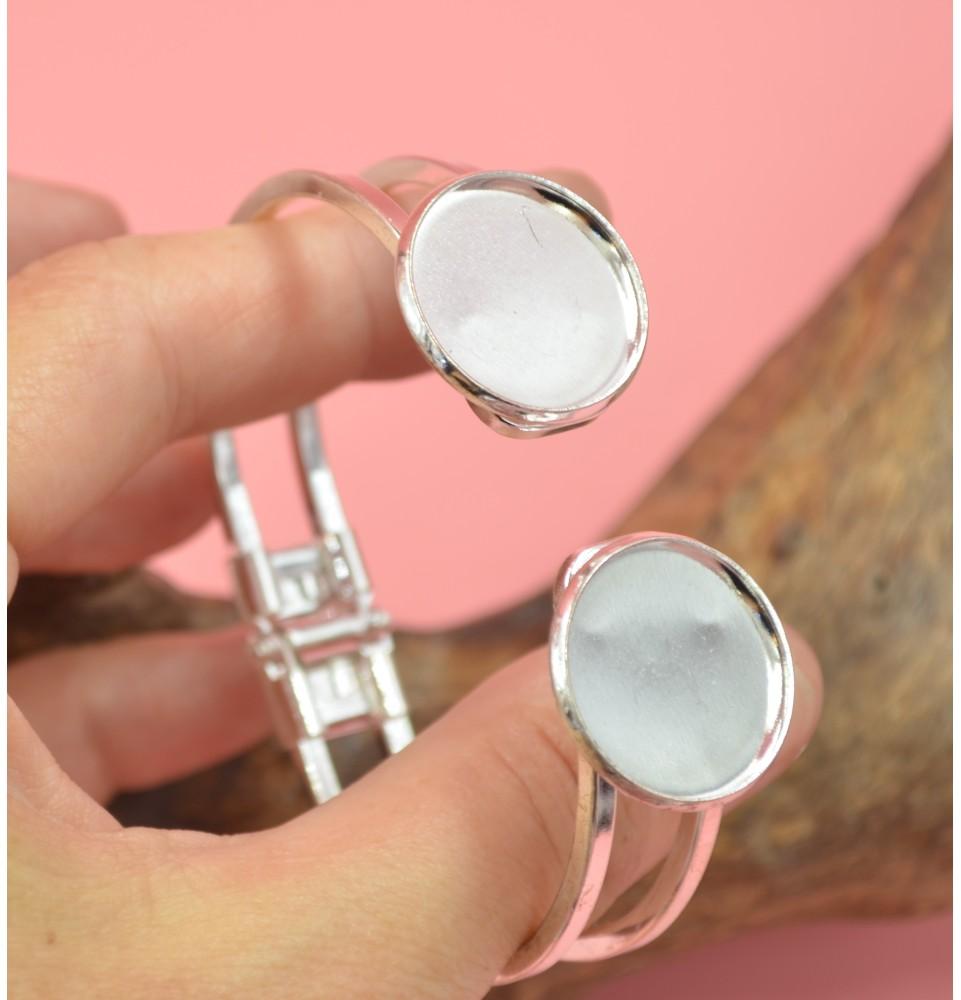 support bracelet rigide avec 2 cabochons metal argenté